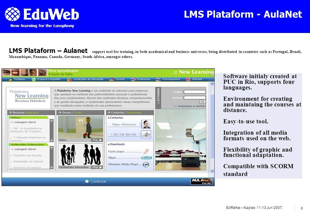EdReNe – Naples 11-13 Jun 2007. 6 New-learning for the Lusophony LMS Plataform - AulaNet LMS Plataform – Aulanet support tool for training, in both ac