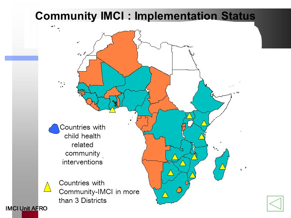 Community Integrated Management of Childhood Illness, C-IMCI C-IMCI = an integrated child care approach to improve key family and community practices