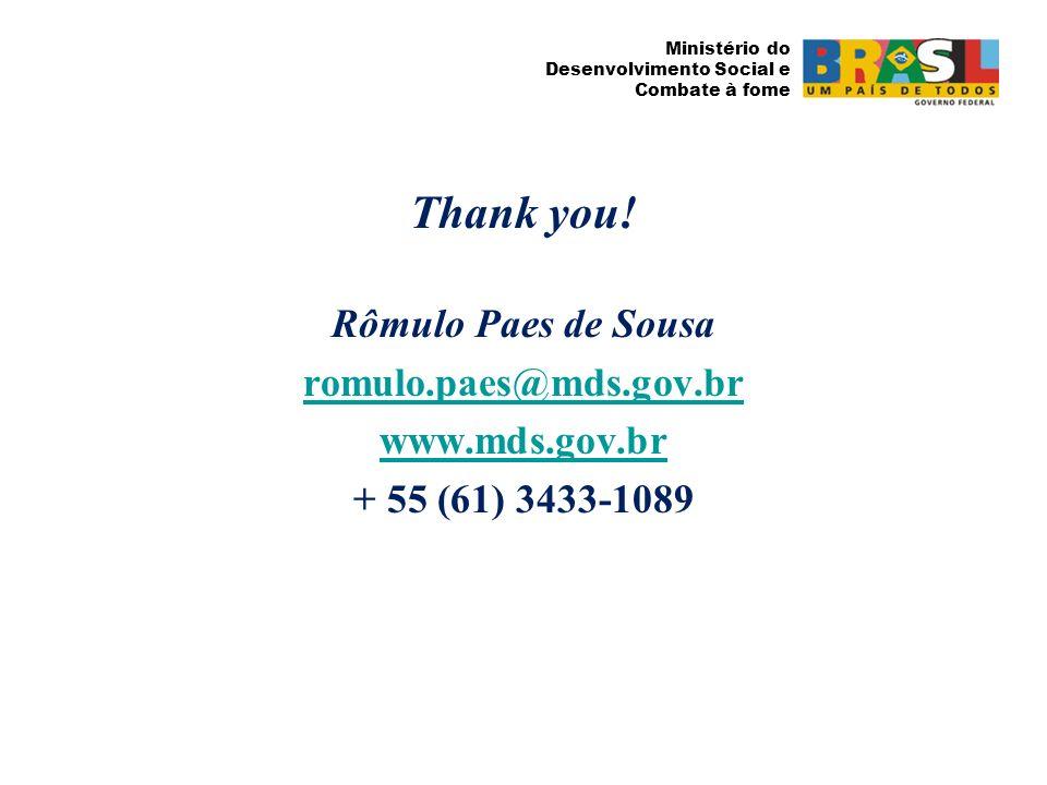 Ministério do Desenvolvimento Social e Combate à fome Thank you! Rômulo Paes de Sousa romulo.paes@mds.gov.br www.mds.gov.br + 55 (61) 3433-1089