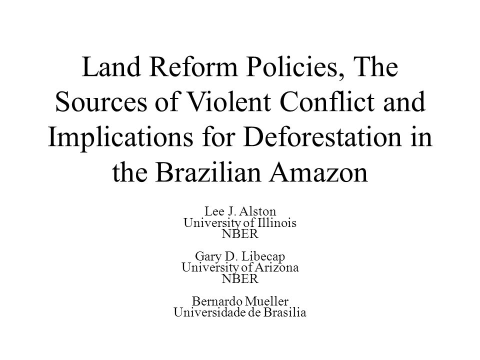 V - A Model of Rural Conflicts in the Amazon 2.Value of Land depends on the outcome: i.