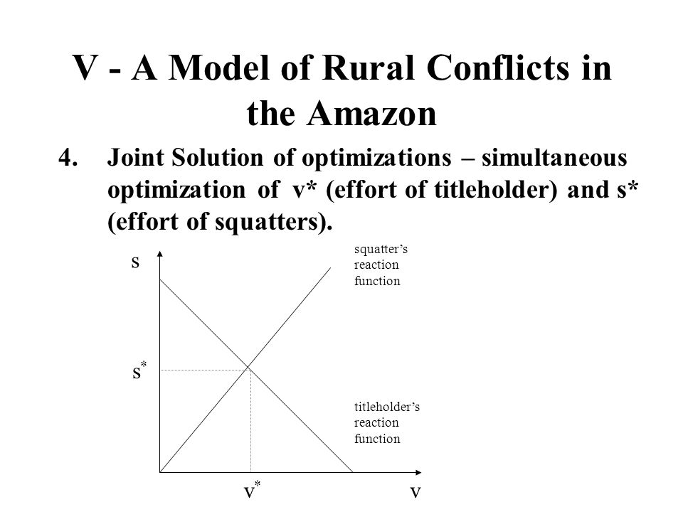 V - A Model of Rural Conflicts in the Amazon 4.Joint Solution of optimizations – simultaneous optimization of v* (effort of titleholder) and s* (effor