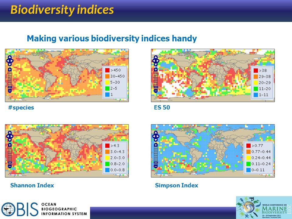 Biodiversity indices Making various biodiversity indices handy #speciesES 50 Shannon IndexSimpson Index