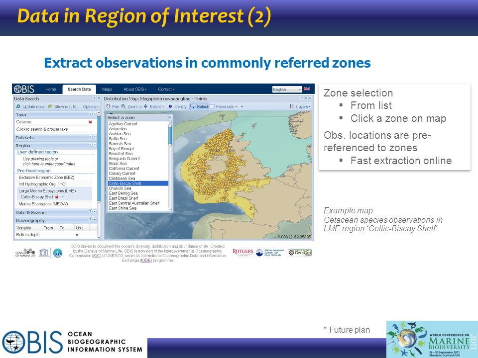 Data in Region of Interest (2) * Future plan Extract observations in commonly referred zones Zone selection From list Click a zone on map Obs. locatio