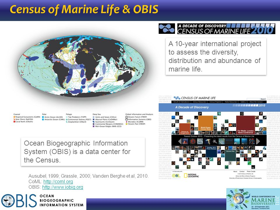 Census of Marine Life & OBIS A 10-year international project to assess the diversity, distribution and abundance of marine life. Ocean Biogeographic I