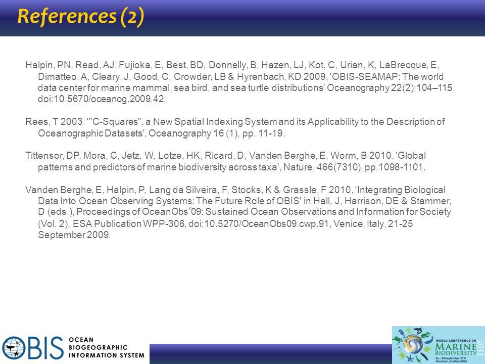References (2) Halpin, PN, Read, AJ, Fujioka, E, Best, BD, Donnelly, B, Hazen, LJ, Kot, C, Urian, K, LaBrecque, E, Dimatteo, A, Cleary, J, Good, C, Cr