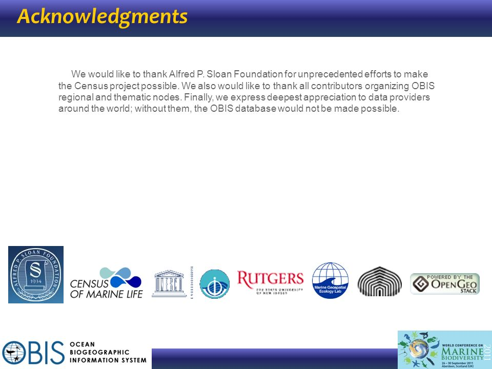 Acknowledgments We would like to thank Alfred P. Sloan Foundation for unprecedented efforts to make the Census project possible. We also would like to
