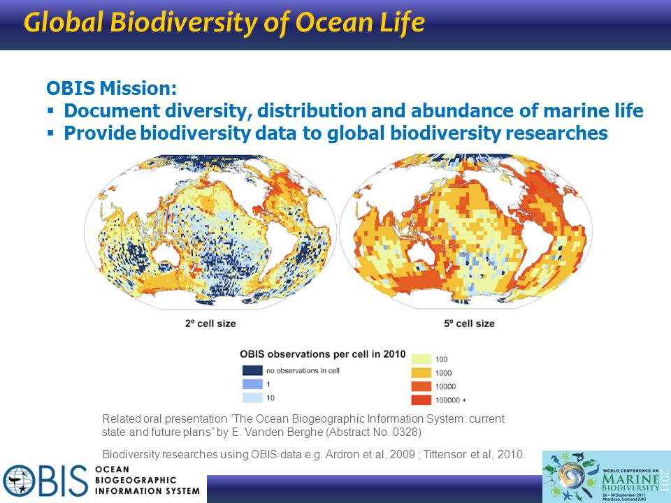 Global Biodiversity of Ocean Life OBIS Mission: Document diversity, distribution and abundance of marine life Provide biodiversity data to global biod