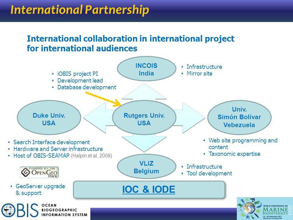 International Partnership INCOIS India VLIZ Belgium IOC & IODE Rutgers Univ. USA International collaboration in international project for internationa