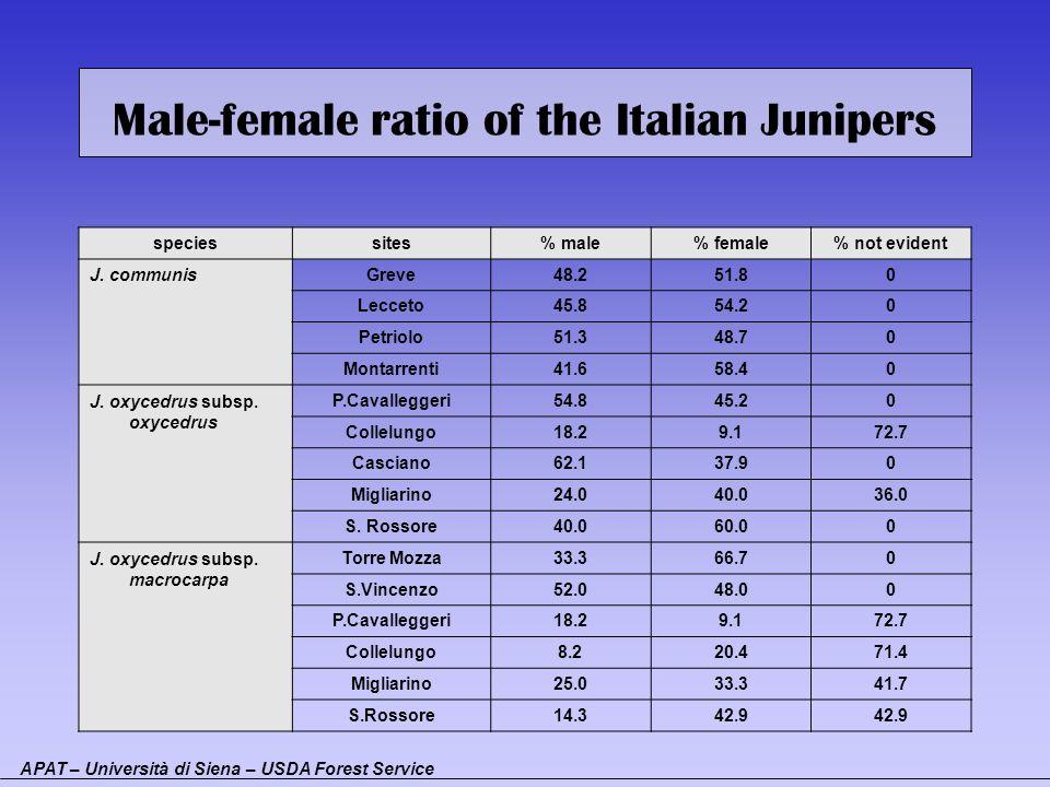 Male-female ratio of the Italian Junipers speciessites% male% female% not evident J. communisGreve48.251.80 Lecceto45.854.20 Petriolo51.348.70 Montarr