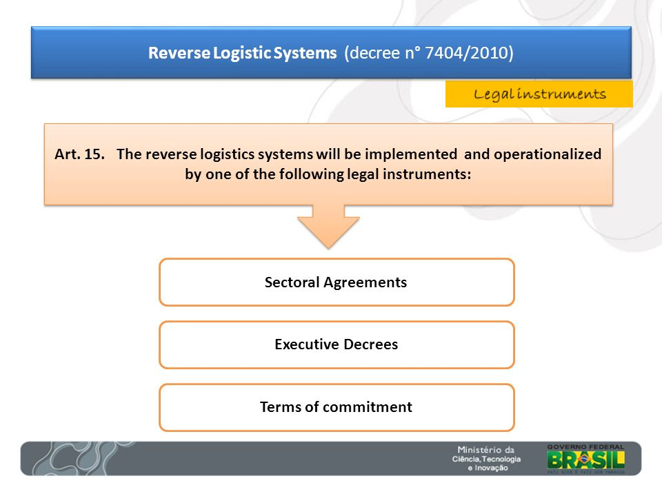 Sectoral Agreements Executive Decrees Terms of commitment Art. 15. The reverse logistics systems will be implemented and operationalized by one of the
