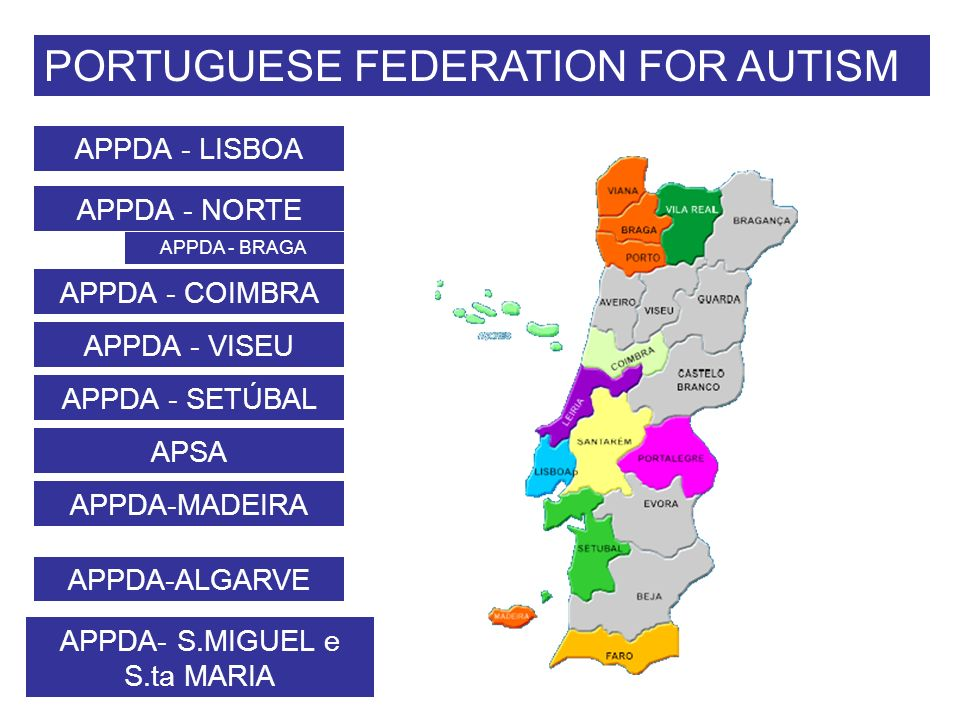 PORTUGUESE FEDERATION FOR AUTISM APPDA - LISBOA APPDA - NORTE APPDA - COIMBRA APPDA - VISEU APPDA-MADEIRA APPDA- S.MIGUEL e S.ta MARIA APPDA - BRAGA APPDA - SETÚBAL APSA APPDA-ALGARVE