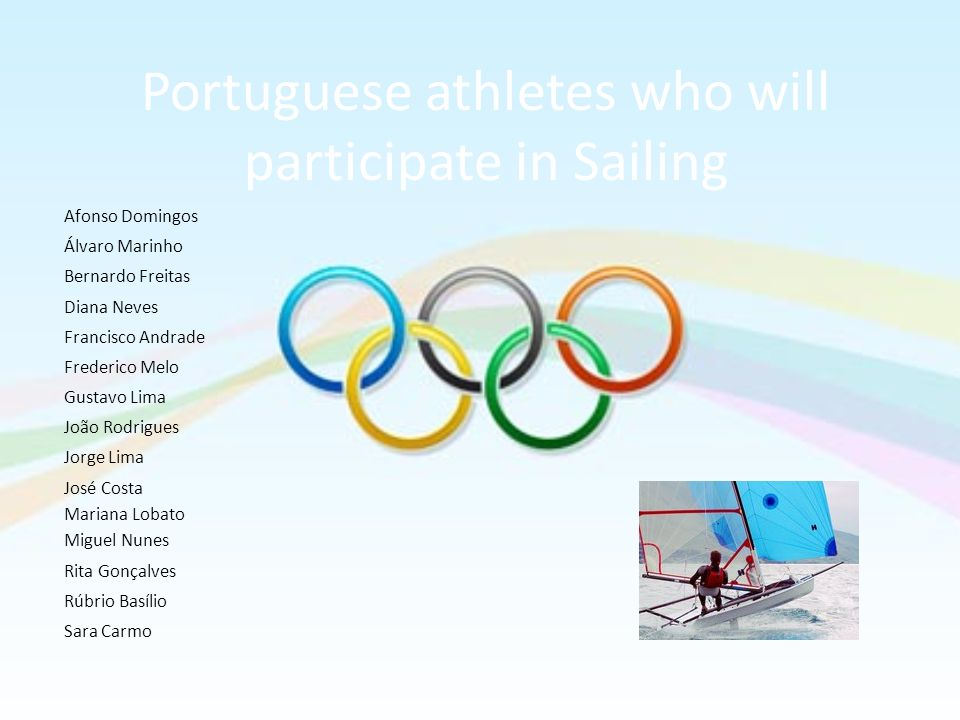 Portuguese athletes who will participate in Sailing Afonso Domingos Álvaro Marinho Bernardo Freitas Diana Neves Francisco Andrade Frederico Melo Gusta