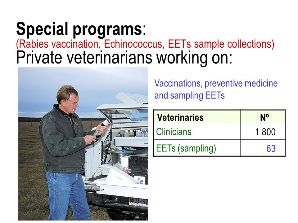 Special programs : (Rabies vaccination, Echinococcus, EETs sample collections) Private veterinarians working on: Veterinaries Nº Clinicians1 800 EETs