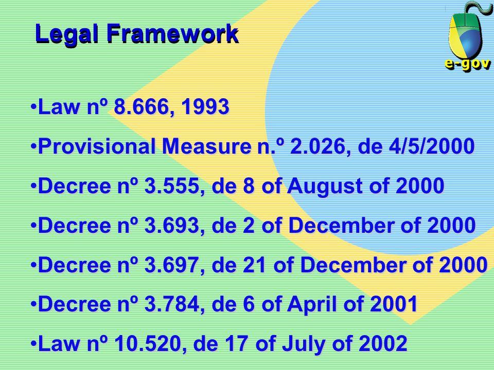 Legal Framework Law nº 8.666, 1993Law nº 8.666, 1993 Provisional Measure n.º 2.026, de 4/5/2000Provisional Measure n.º 2.026, de 4/5/2000 Decree nº 3.