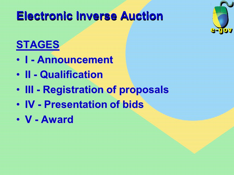Electronic Inverse Auction STAGES I - AnnouncementI - Announcement II - QualificationII - Qualification III - Registration of proposalsIII - Registrat