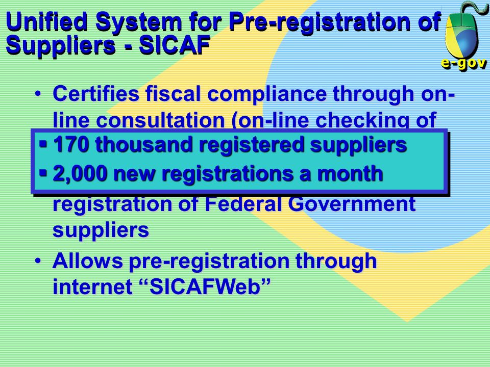 Unified System for Pre-registration of Suppliers - SICAF Certifies fiscal compliance through on- line consultation (on-line checking of SRF, FGTS, PGF