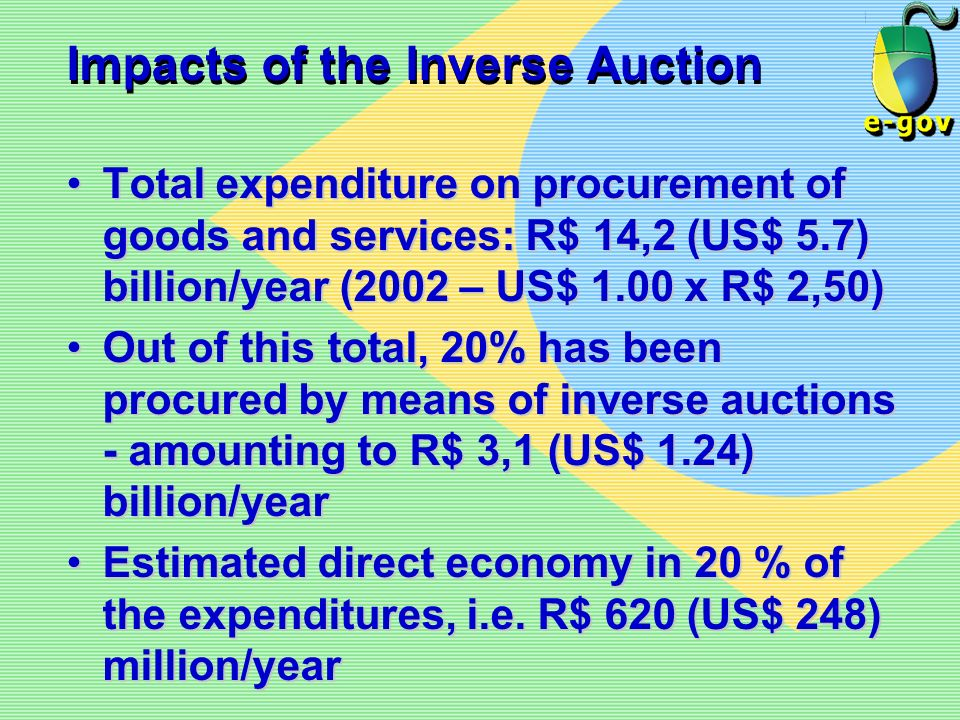 Impacts of the Inverse Auction Total expenditure on procurement of goods and services: R$ 14,2 (US$ 5.7) billion/year (2002 – US$ 1.00 x R$ 2,50)Total