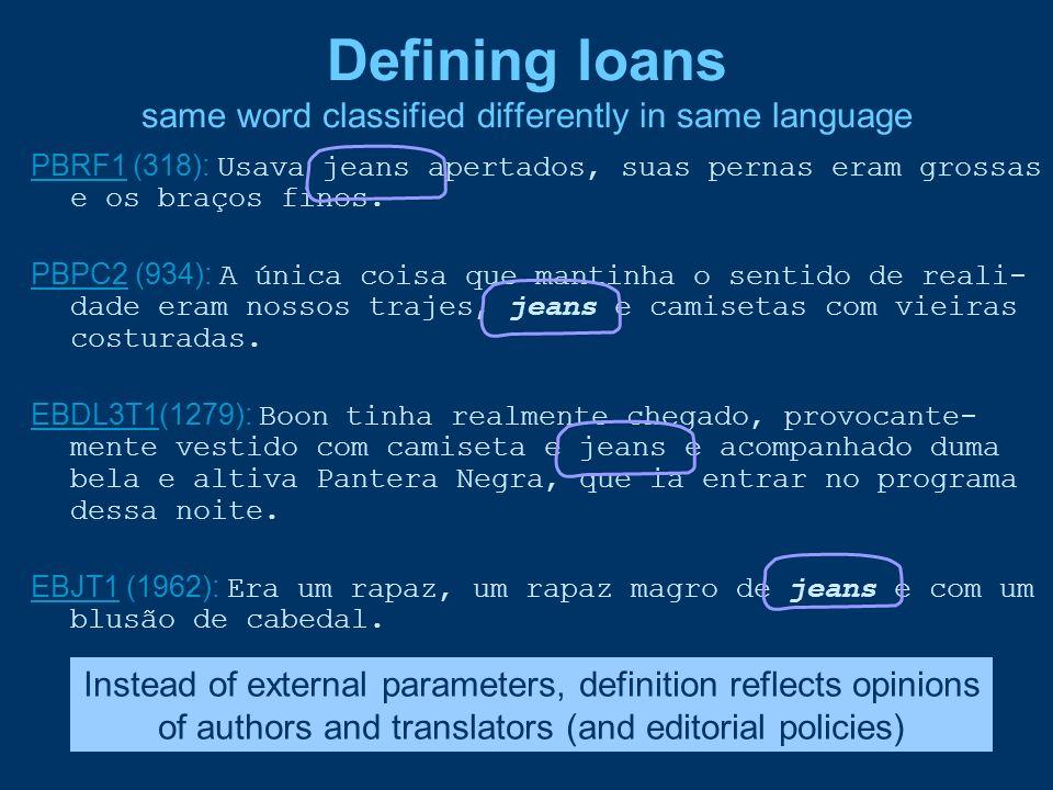 Defining loans same word classified differently in same language PBRF1PBRF1 (318): Usava jeans apertados, suas pernas eram grossas e os braços finos.