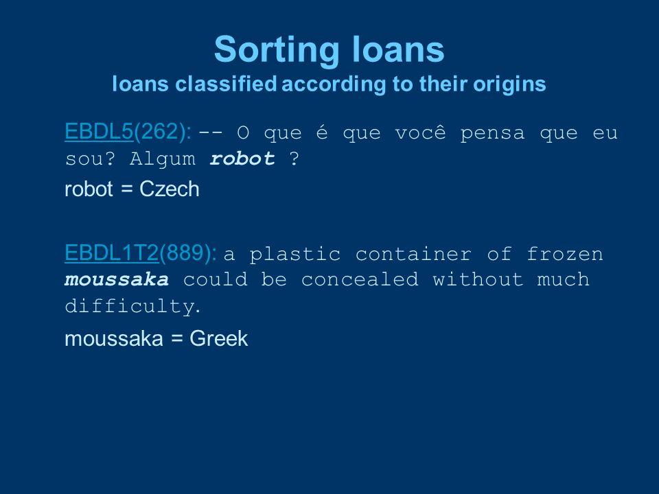 Sorting loans loans classified according to their origins EBDL5EBDL5(262): -- O que é que você pensa que eu sou? Algum robot ? robot = Czech EBDL1T2EB