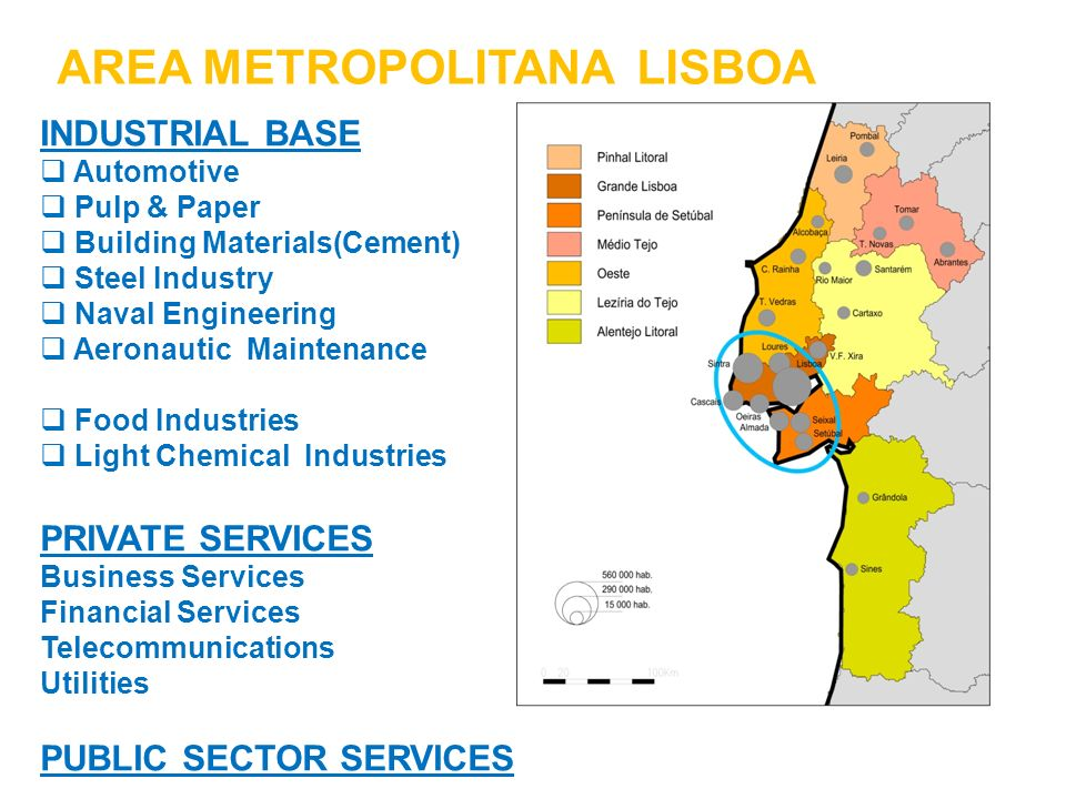 AREA METROPOLITANA LISBOA INDUSTRIAL BASE Automotive Pulp & Paper Building Materials(Cement) Steel Industry Naval Engineering Aeronautic Maintenance F