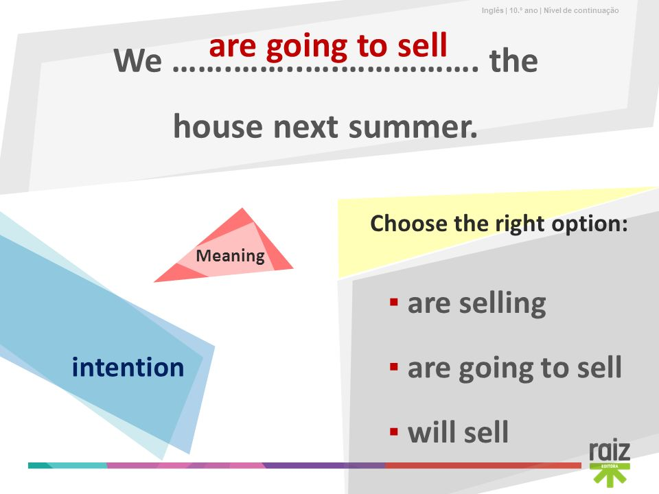 Inglês | 10.º ano | Nível de continuação We …….……..….……………. the house next summer. are going to sell are selling will sell are going to sell Choose th