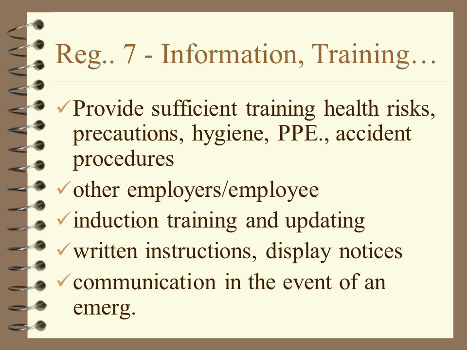 Reg.. 7 - Information, Training… Provide sufficient training health risks, precautions, hygiene, PPE., accident procedures other employers/employee in