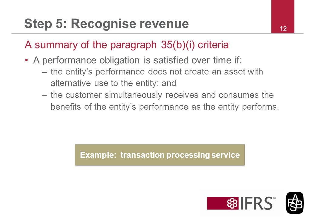 Step 5: Recognise revenue A summary of the paragraph 35(b)(i) criteria A performance obligation is satisfied over time if: –the entitys performance do