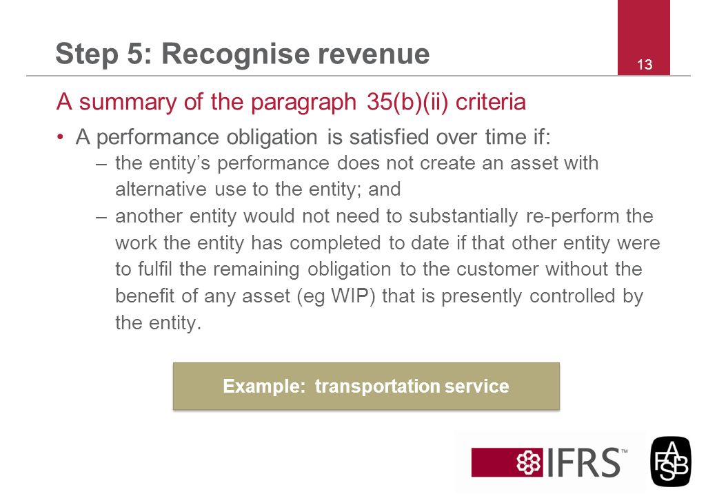 Step 5: Recognise revenue A summary of the paragraph 35(b)(ii) criteria A performance obligation is satisfied over time if: –the entitys performance d