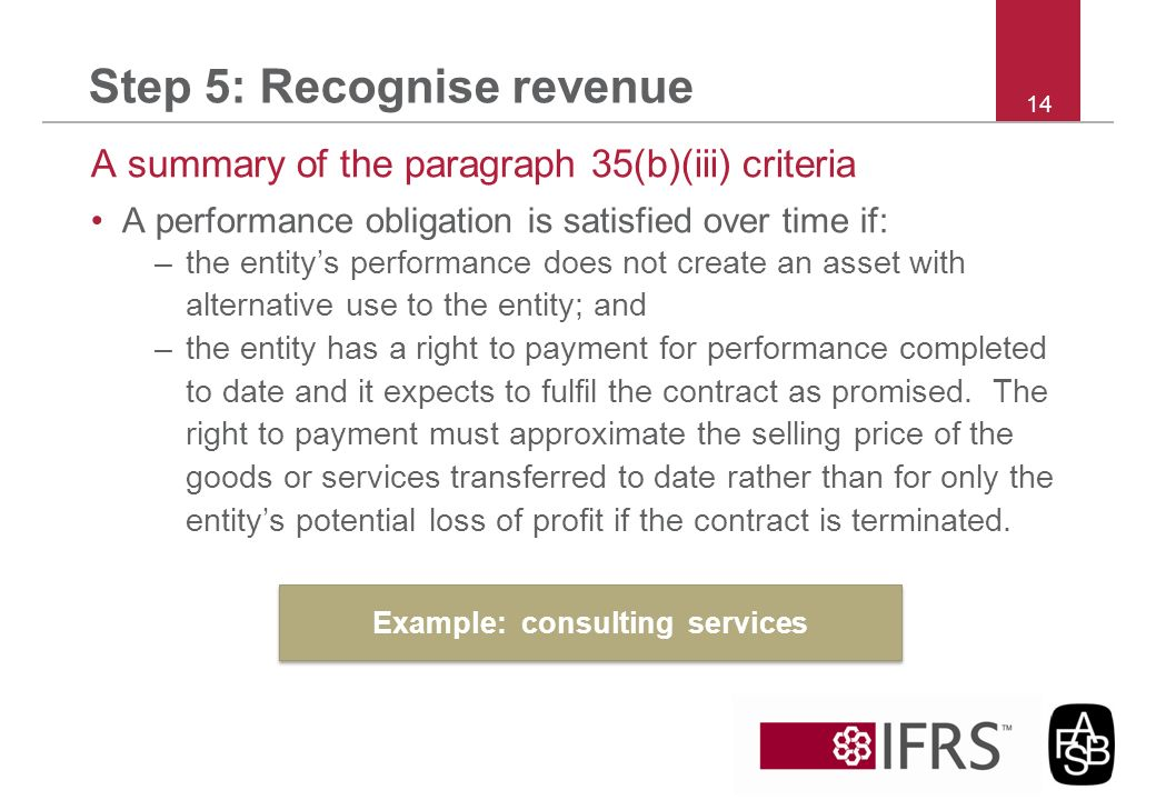 Step 5: Recognise revenue A summary of the paragraph 35(b)(iii) criteria A performance obligation is satisfied over time if: –the entitys performance