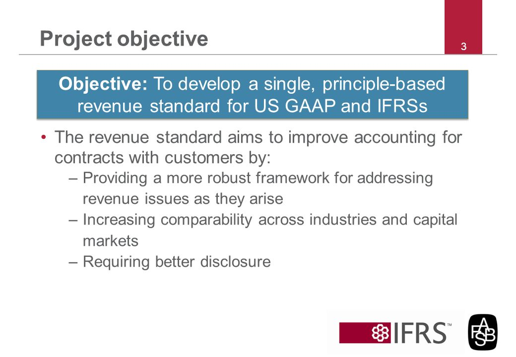 Project objective The revenue standard aims to improve accounting for contracts with customers by: –Providing a more robust framework for addressing r