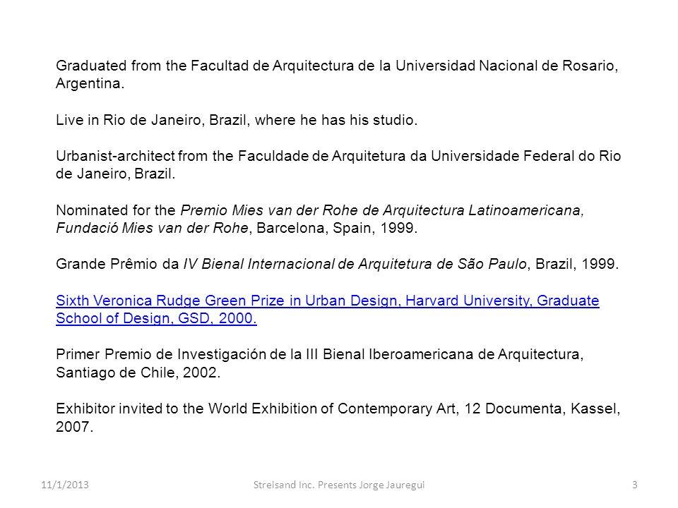 Graduated from the Facultad de Arquitectura de la Universidad Nacional de Rosario, Argentina. Live in Rio de Janeiro, Brazil, where he has his studio.
