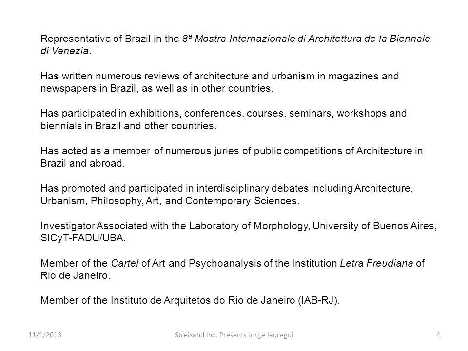 Representative of Brazil in the 8ª Mostra Internazionale di Architettura de la Biennale di Venezia. Has written numerous reviews of architecture and u