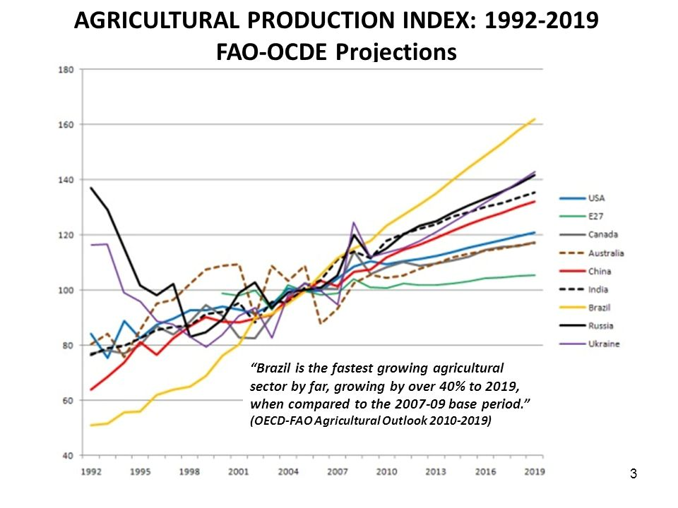AGRICULTURAL PRODUCTION INDEX: 1992-2019 FAO-OCDE Projections 3 Brazil is the fastest growing agricultural sector by far, growing by over 40% to 2019,
