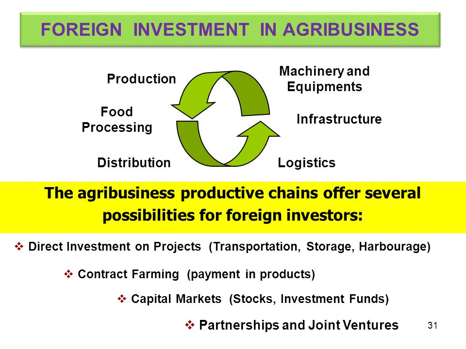 Direct Investment on Projects (Transportation, Storage, Harbourage) Production Infrastructure Food Processing DistributionLogistics Machinery and Equi