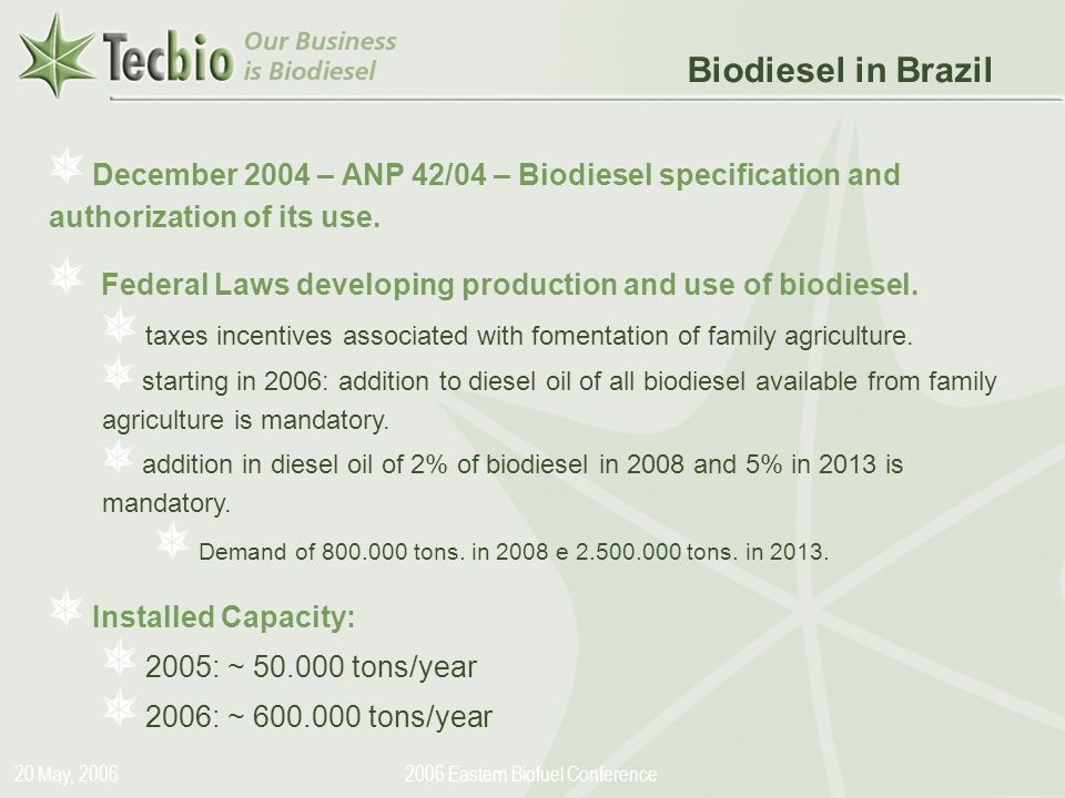 Biodiesel in the Plural 20 May, 20062006 Eastern Biofuel Conference December 2004 – ANP 42/04 – Biodiesel specification and authorization of its use.