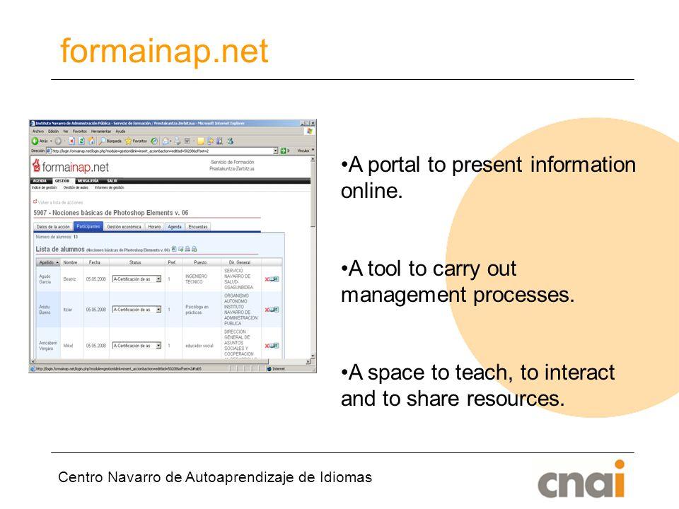 Centro Navarro de Autoaprendizaje de Idiomas formainap.net A portal to present information online.