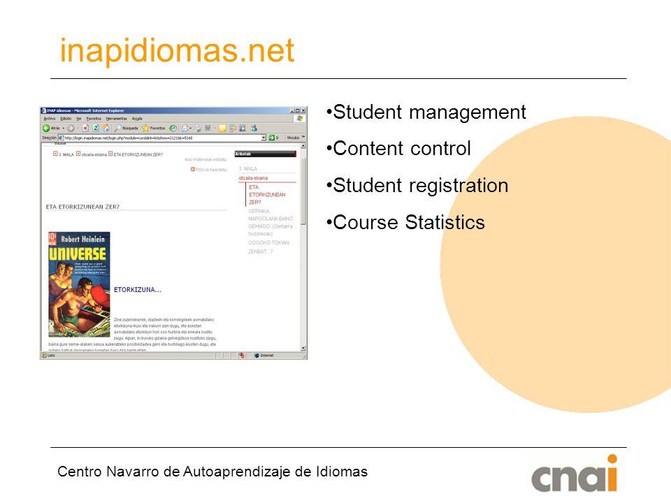 Centro Navarro de Autoaprendizaje de Idiomas inapidiomas.net Student management Content control Student registration Course Statistics