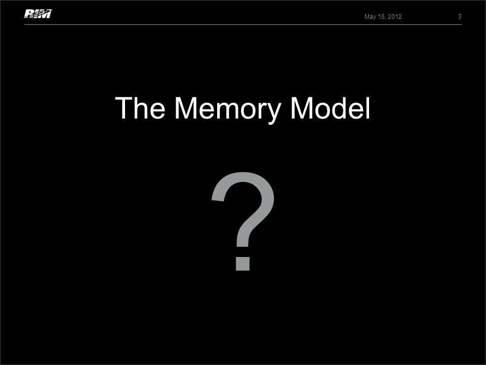 The Memory Model May 15, 2012 3 ?