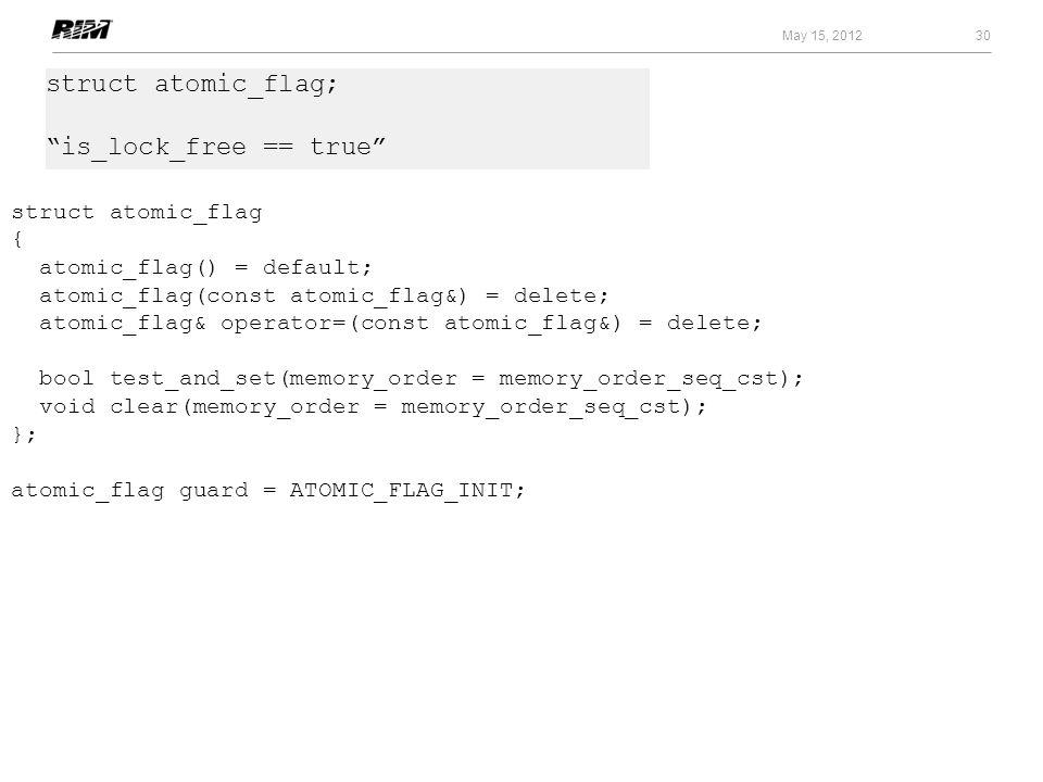 30 May 15, 2012 struct atomic_flag { atomic_flag() = default; atomic_flag(const atomic_flag&) = delete; atomic_flag& operator=(const atomic_flag&) = d