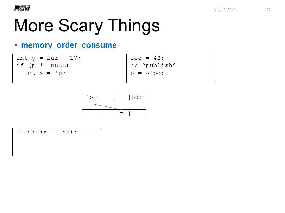 More Scary Things 67 May 15, 2012 foo = 42; // publish p = &foo; memory_order_consume foo| | |bar | | p | int y = bar + 17; if (p != NULL) int x = *p;