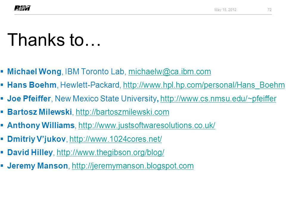 Thanks to… Michael Wong, IBM Toronto Lab, michaelw@ca.ibm.commichaelw@ca.ibm.com Hans Boehm, Hewlett-Packard, http://www.hpl.hp.com/personal/Hans_Boeh