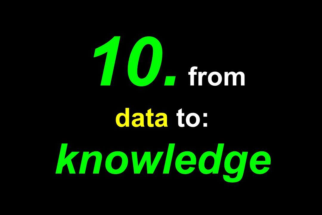 10. from data to: knowledge
