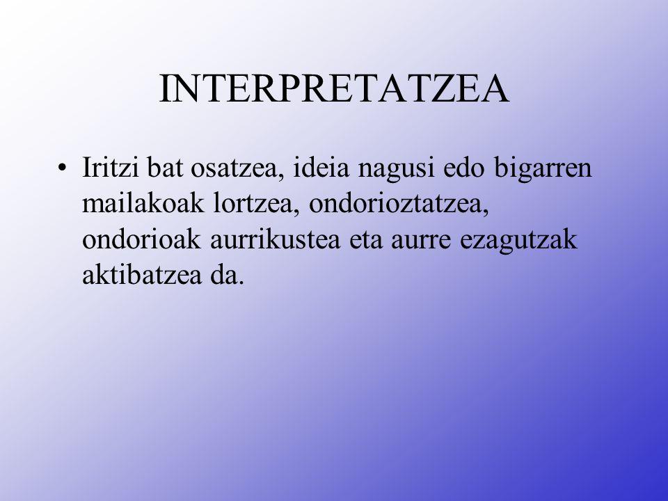 INTERPRETATZEA Iritzi bat osatzea, ideia nagusi edo bigarren mailakoak lortzea, ondorioztatzea, ondorioak aurrikustea eta aurre ezagutzak aktibatzea da.