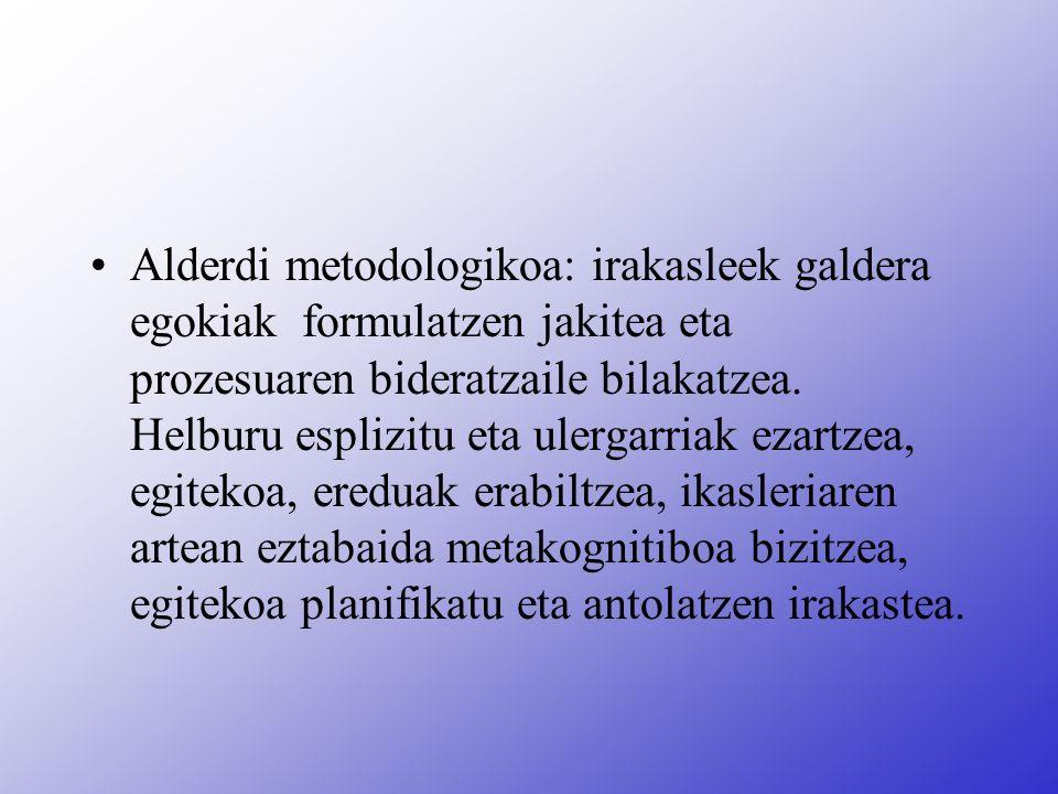 Alderdi metodologikoa: irakasleek galdera egokiak formulatzen jakitea eta prozesuaren bideratzaile bilakatzea.