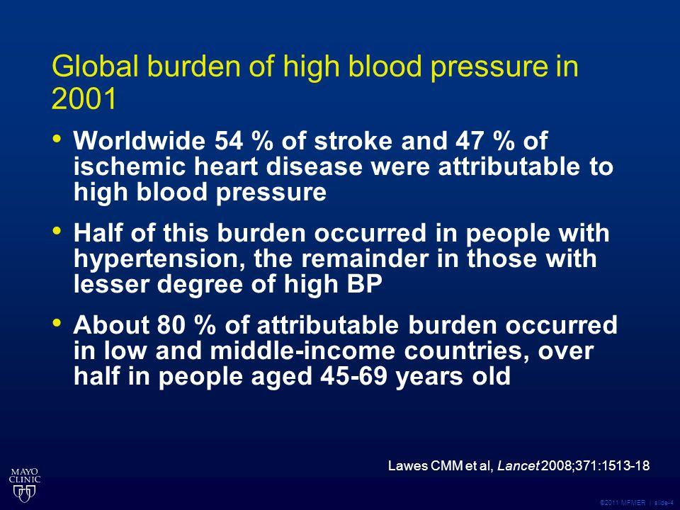 ©2011 MFMER | slide-4 Global burden of high blood pressure in 2001 Worldwide 54 % of stroke and 47 % of ischemic heart disease were attributable to hi