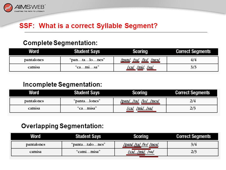 SSF: What is a correct Syllable Segment? Complete Segmentation: Incomplete Segmentation: Overlapping Segmentation: