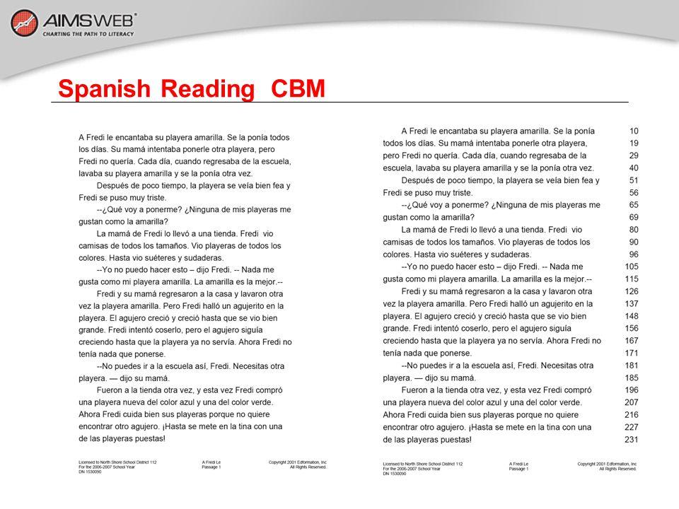 Spanish Reading CBM