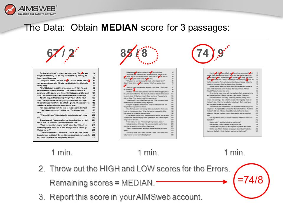 1 min. 1 min. 1 min. 1 min. 1 min. 1 min. 2. Throw out the HIGH and LOW scores for the Errors. Remaining scores = MEDIAN. Remaining scores = MEDIAN. 3