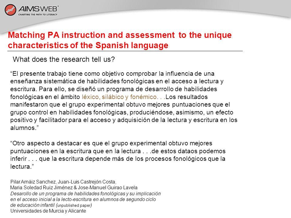 What does the research tell us? El presente trabajo tiene como objetivo comprobar la influencia de una enseñanza sistemática de habilidades fonológica