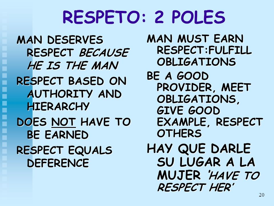 20 RESPETO: 2 POLES MAN DESERVES RESPECT BECAUSE HE IS THE MAN RESPECT BASED ON AUTHORITY AND HIERARCHY DOES NOT HAVE TO BE EARNED RESPECT EQUALS DEFE